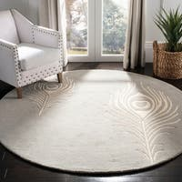 Safavieh Handmade Soho Grey/ Ivory New Zealand Wool/ Viscose Rug - 6' Round