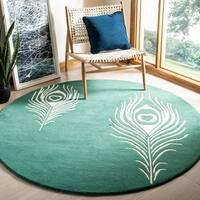 Safavieh Handmade Soho Teal/ Ivory New Zealand Wool/ Viscose Rug - 6' Round