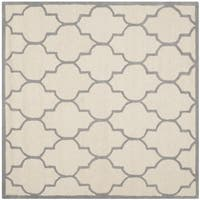 Safavieh Handmade Moroccan Cambridge Ivory/ Silver Wool Rug - 6' Square