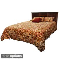 DuraBed Queen Bed Frame with All Wood Bookcase Headboard