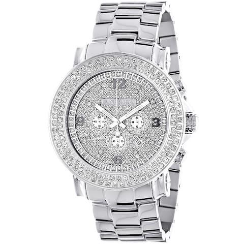 Luxurman Men's Large 2-row 5ct Diamond Bezel Watch Metal Band plus Extra Leather Straps