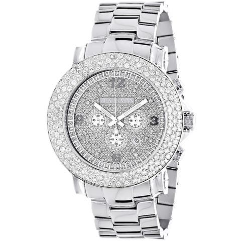 Luxurman Men's Large Iced Out 6.25ct Diamond Luxurman Watch Metal Band plus Extra Leather Straps