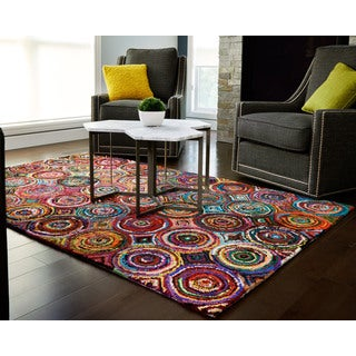 Jani Tangi Multi-Colored Circles Pattern Recycled Cotton Rug (5' x 8')