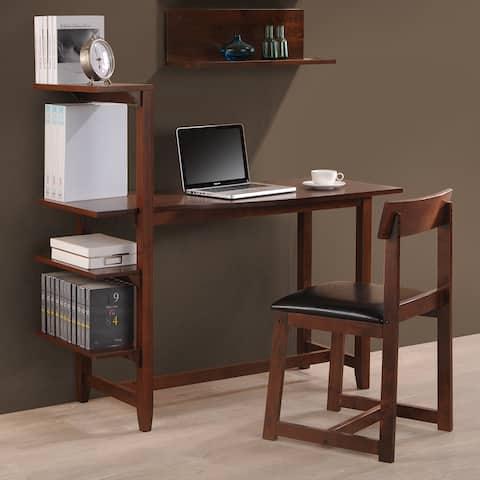 Hamburg Contemporary 4-tier Bookshelf, Desk, and Faux Leather Desk Chair Study Set