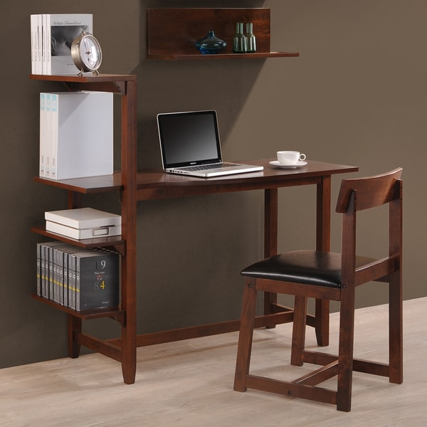 shop hamburg contemporary 4 tier bookshelf desk and faux leather desk chair study set free. Black Bedroom Furniture Sets. Home Design Ideas