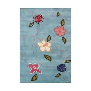 Alliyah Hand Made Blue Haze New Zealand Blended Wool Rug 8'x10'