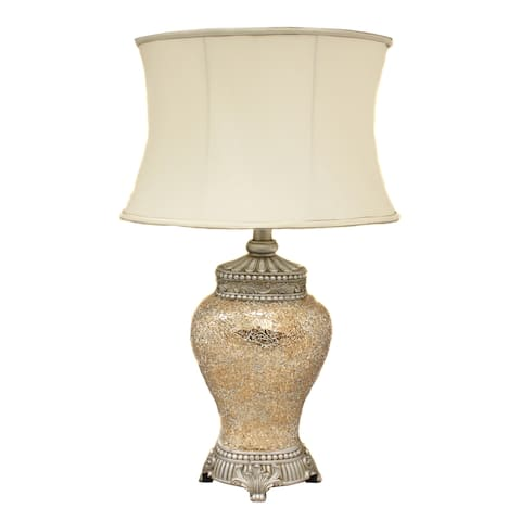 Casa Cortes 'Pearl' Hand-crafted Matte Mosaic Table Lamp - 30-Inch