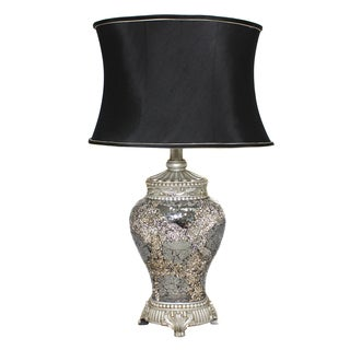 Casa Cortes 'Architectural' Hand-crafted Silver Mosaic Table Lamp