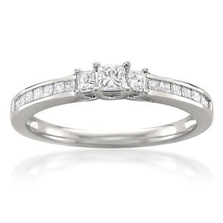 Montebello 14k White Gold 1/2ct TDW Princess-cut 3-stone Engagement Ring