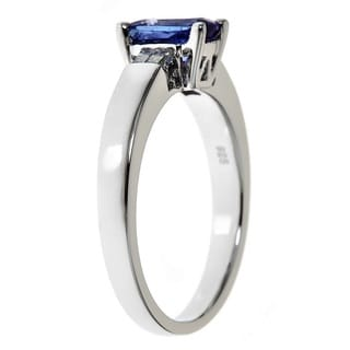 Anika and August Sterling Silver Radiant-cut Tanzanite and Diamond Accent Fashion Ring
