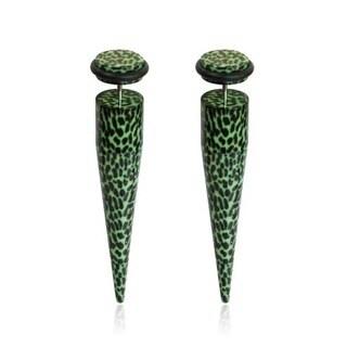 Supreme Jewelry Green/ Black Cheetah Print Fake Tapers (Pair)
