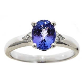 Anika and August Sterling Silver Oval-cut Tanzanite and Diamond Accent Fashion Ring