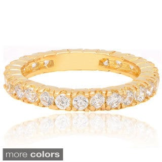 Dolce Giavonna 14k Gold Overlay Cubic Zirconia Eternity Ring