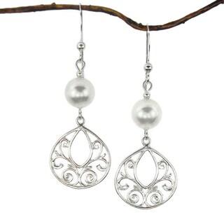 Jewelry by Dawn White Crystal Pearl Fancy Filigree Teardrop Sterling Silver Earrings