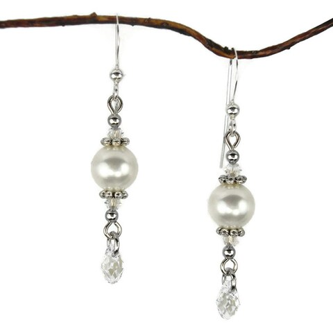Handmade Jewelry by Dawn Round White Pearl Crystal Teardrop Earrings (USA)