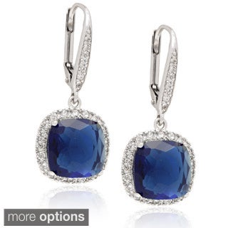Dolce Giavonna 14k Gold Overlay Cubic Zirconia Blue/ Green Glass Leverback Earrings
