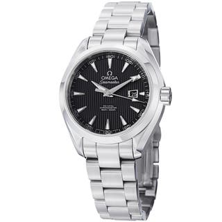 Omega Women's 'AquaTerra' 231.10.34.20.01.001 Black Dial Stainless Steel Automatic Watch|https://ak1.ostkcdn.com/images/products/8760099/Omega-Womens-231.10.34.20.01.001-AquaTerra-Black-Dial-Stainless-Steel-Automatic-Watch-P16002929.jpg?impolicy=medium