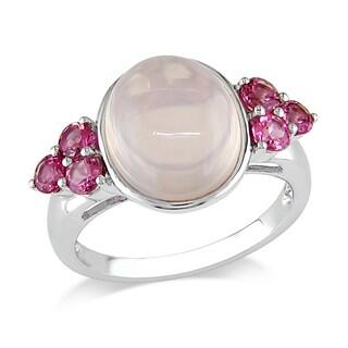 Miadora 10k White Gold 6 1/4ct TGW Rose Quartz and Pink Tourmaline Ring