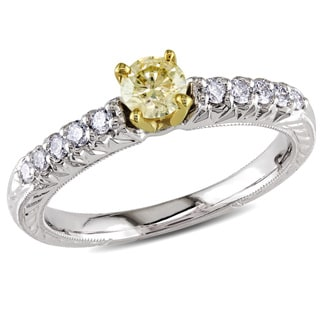 Miadora Signature Collection 18k White Gold 1/2ct TDW Yellow and White Diamond Ring