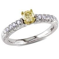 Miadora Signature Collection 18k White Gold 1/2ct TDW Yellow and White Diamond Ring