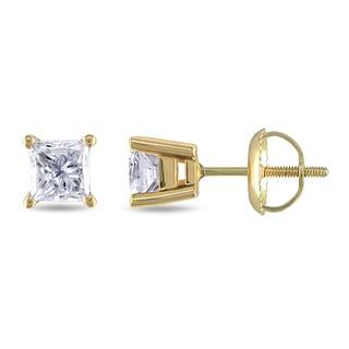 Miadora Signature Collection 14k Yellow Gold 1ct TDW Princess-cut Diamond Stud Earrings