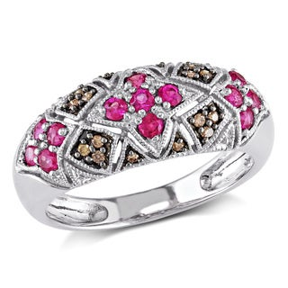 Miadora 10k White Gold Pink Sapphire and Brown Diamond Ring (I1-I2)