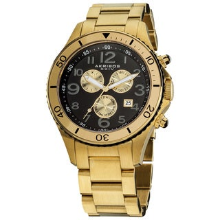 Akribos XXIV Men's Multifunction Chronograph Stainless Steel Gold-Tone Bracelet Watch