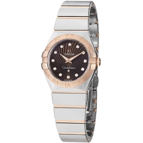 Omega Women's 'Constellation' Brown Diamond Dial Two Tone Watch