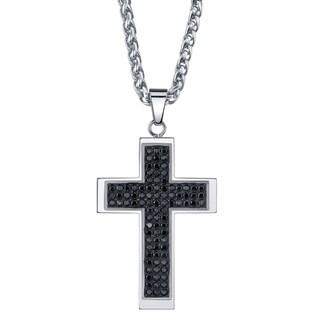 Men's Black Cubic Zirconia Cross Necklace