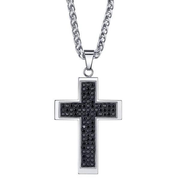 Tip Top Jewellery: Shop Men's Black Cubic Zirconia Cross Necklace