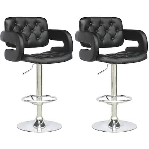 Adjustable Black Leatherette Barstool with Armrests, set of 2