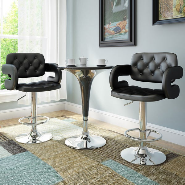 Corliving Black Leatherette Tufted With Armrests