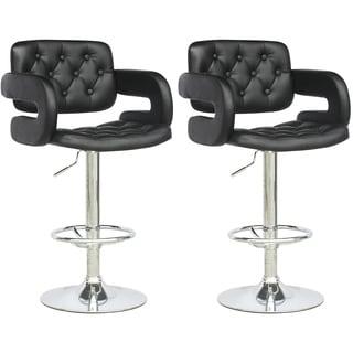 CorLiving Black Leatherette Tufted with Armrests Adjustable Bar Stools (Set of 2)