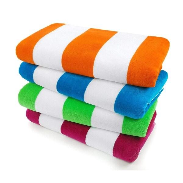 Cabana 100% Cotton Stripe Velour Cotton Beach Towel (Set of 4) 30 in x 60 in