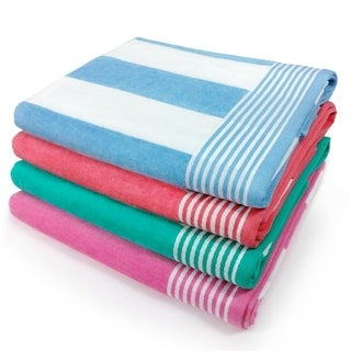 Cabana 100% Cotton Stripe Velour Cotton Beach Towel (Set of 4) 30 in x 60 in - N/A
