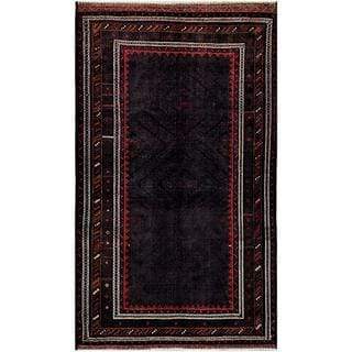 Herat Oriental Afghan Hand-knotted Tribal Balouchi Navy/ Charcoal Wool Rug (5'8 x 9'7)