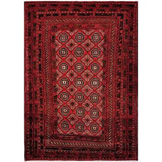 Herat Oriental Afghan Hand-knotted Tribal Balouchi Red/ Ivory Wool Rug (6'7 x 9'5)