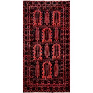 Herat Oriental Afghan Hand-knotted Tribal Balouchi Rose/ Black Wool Runner Rug (5'9 x 11'3)