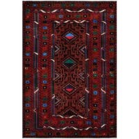 Herat Oriental Afghan Hand-knotted Tribal Balouchi Wool Rug (6'8 x 9'11)