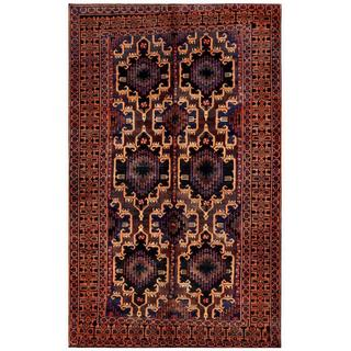 Herat Oriental Afghan Hand-knotted Tribal Balouchi Navy/ Rose Wool Rug (6' x 9'9)