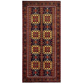 Herat Oriental Afghan Hand-knotted Tribal Balouchi Navy/ Gold Wool Rug (4'6 x 9'5)