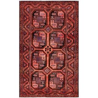 Herat Oriental Afghan Hand-knotted Tribal Balouchi Salmon/ Brown Wool Rug (5'8 x 9'4)