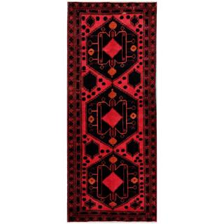 Herat Oriental Afghan Hand-knotted Tribal Balouchi Red/ Charcoal Wool Rug (4'1 x 10'1)