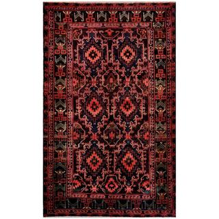 Herat Oriental Afghan Hand-knotted Tribal Balouchi Rose/ Charcoal Wool Rug (5'6 x 9'2)