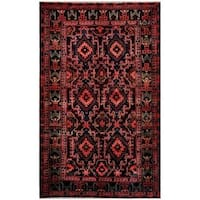 Herat Oriental Afghan Hand-knotted Tribal Balouchi Wool Rug (5'6 x 9'2) - 5'6 x 9'2