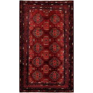 Herat Oriental Afghan Hand-knotted Tribal Balouchi Burgundy/ Black Wool Rug (5'7 x 9'3)