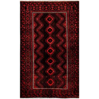Herat Oriental Afghan Hand-knotted Tribal Balouchi Red/ Charcoal Wool Rug (5'4 x 8'7)