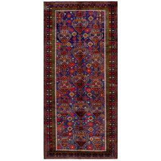 Herat Oriental Afghan Hand-knotted Tribal Balouchi Wool Runner (4'8 x 10'2)