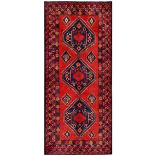 Herat Oriental Afghan Hand-knotted Tribal Balouchi Red/ Navy Wool Rug (4'6 x 10'3)