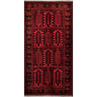 Herat Oriental Afghan Hand-knotted Tribal Balouchi Black/ Red Wool Rug (5'5 x 10'10)